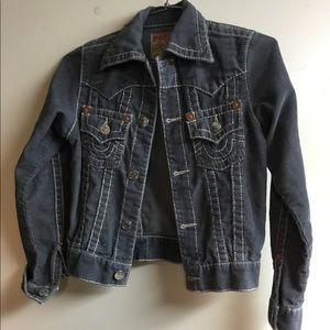 Gray corduroy True Religion jacket. Size Small
